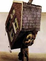 Man carrying a house